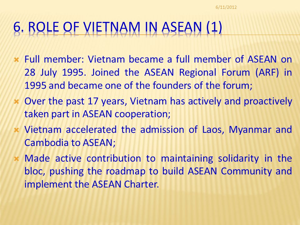 Full member: Vietnam became a full member of ASEAN on 28 July 1995.