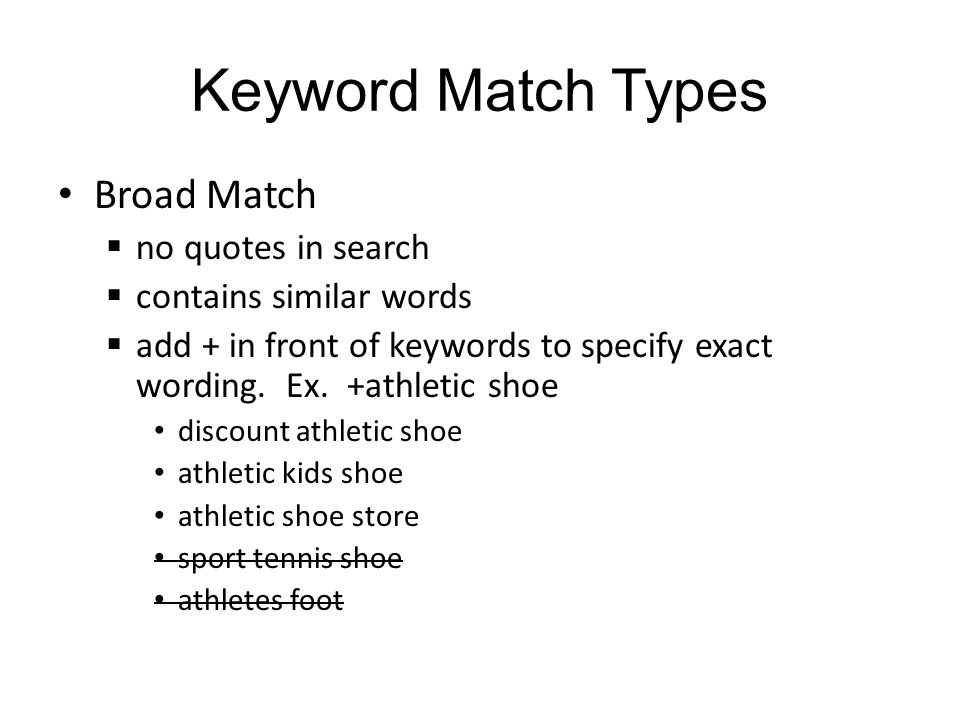 Keyword Match Types Broad Match no quotes in search contains similar words add + in front of keywords to specify exact wording.