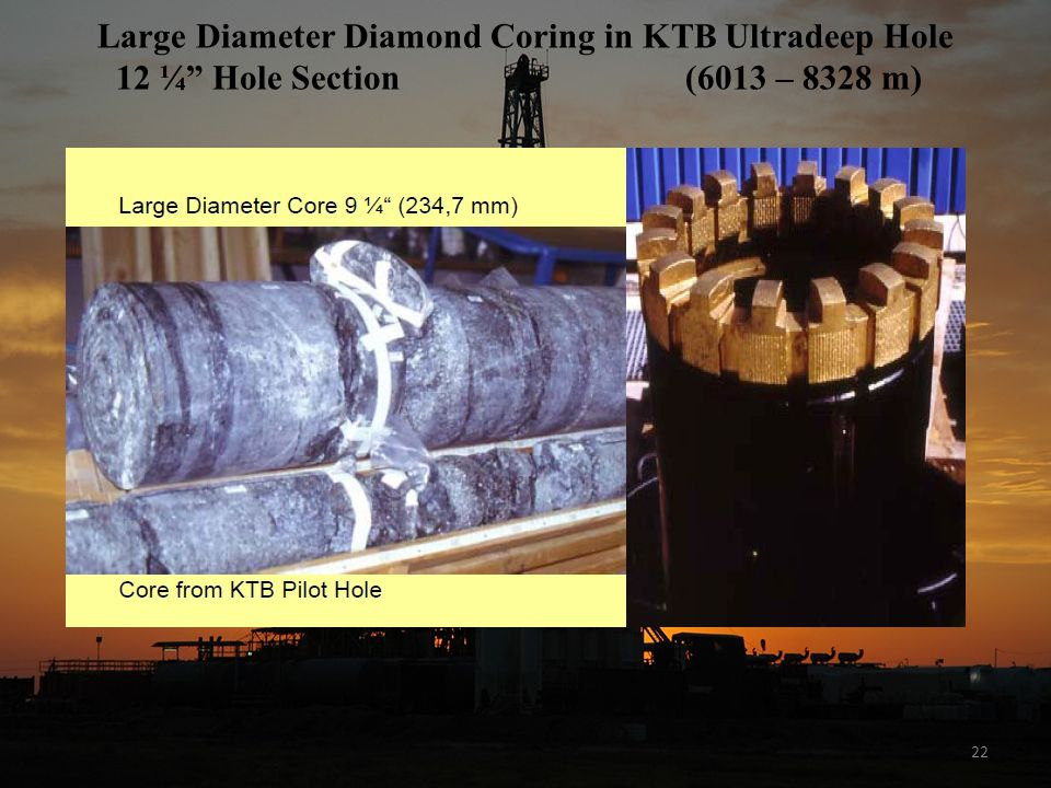 22 Large Diameter Diamond Coring in KTB Ultradeep Hole 12 ¼ Hole Section (6013 – 8328 m)