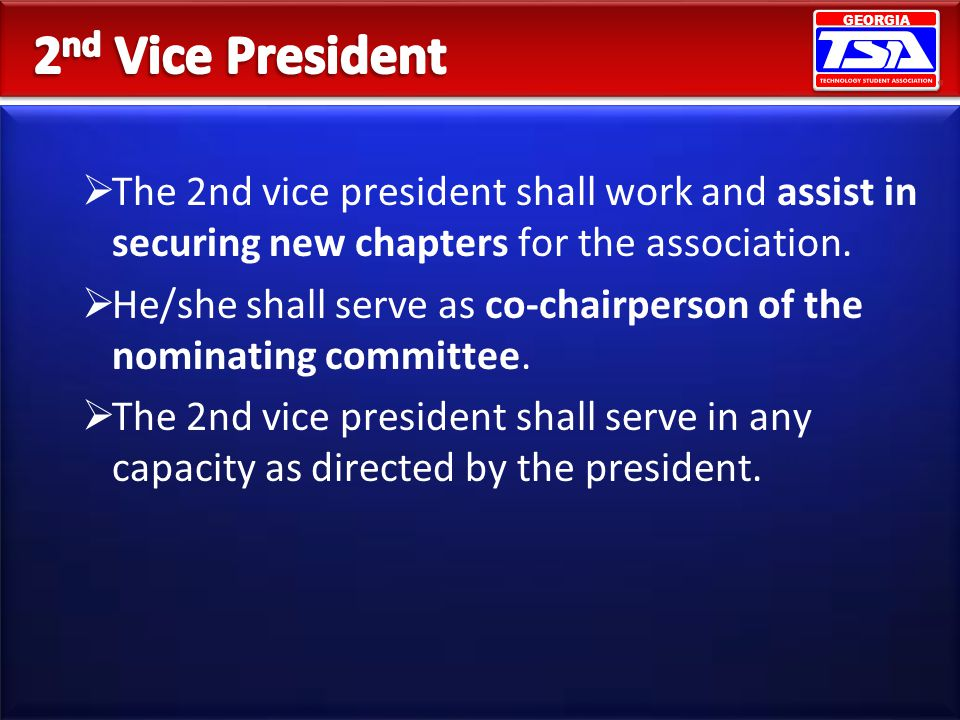 GEORGIA The 2nd vice president shall work and assist in securing new chapters for the association. He/she shall serve as co-chairperson of the nominat