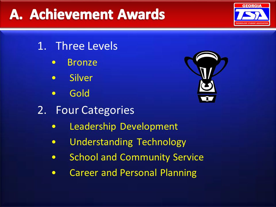 1.Three Levels Bronze Silver Gold 2.Four Categories Leadership Development Understanding Technology School and Community Service Career and Personal P