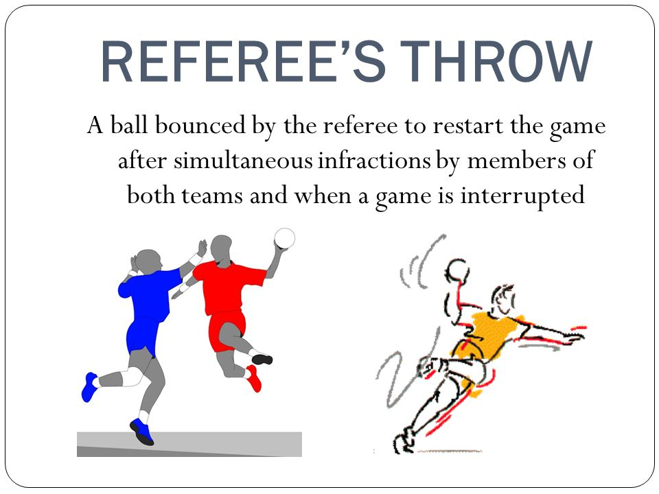 REFEREES THROW A ball bounced by the referee to restart the game after simultaneous infractions by members of both teams and when a game is interrupted