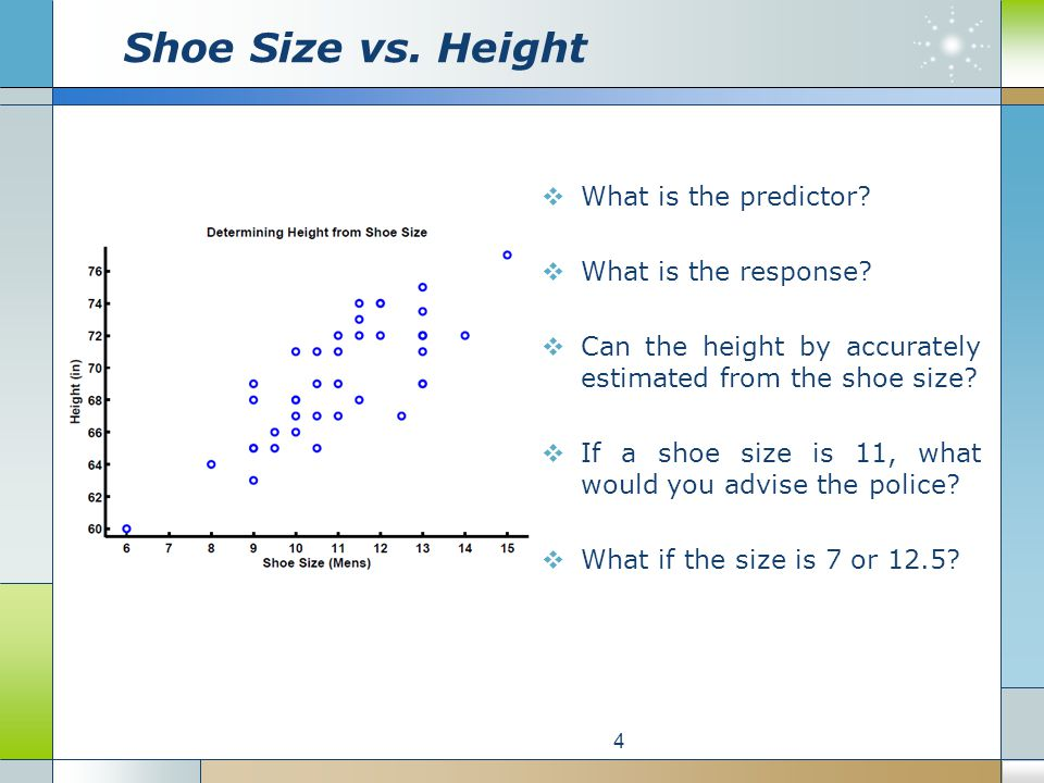 What is the predictor? What is the response? Can the height by accurately estimated from the shoe size? If a shoe size is 11, what would you advise th