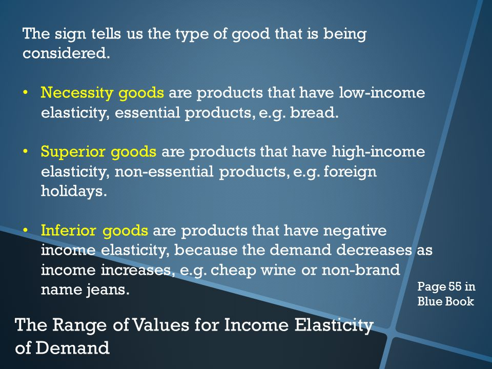 The Range of Values for Income Elasticity of Demand The sign tells us the type of good that is being considered.