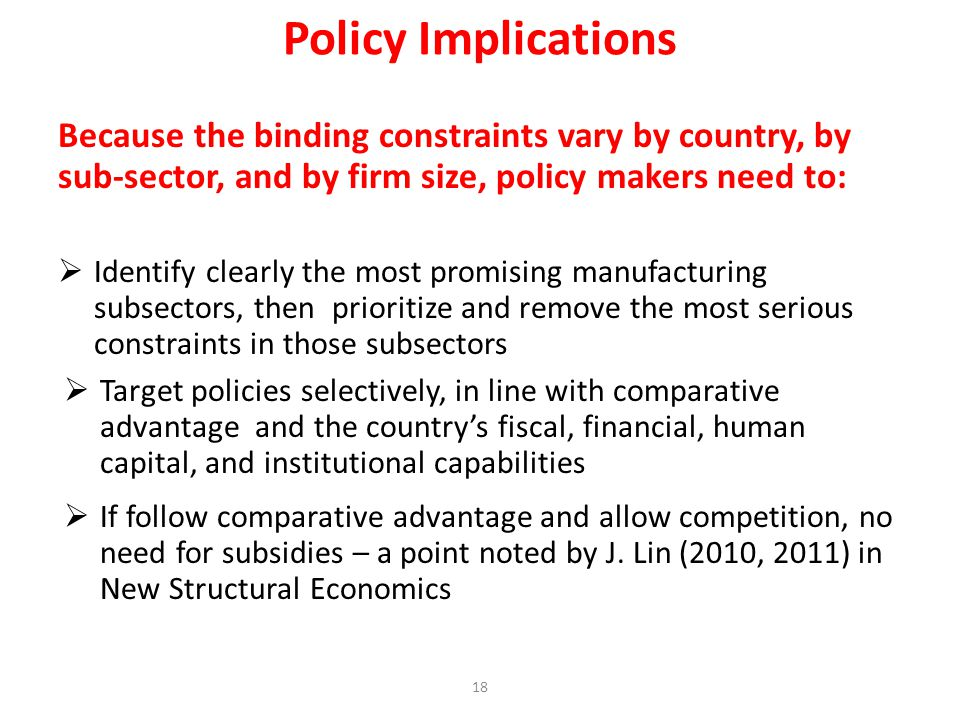 Policy Implications Because the binding constraints vary by country, by sub-sector, and by firm size, policy makers need to: Identify clearly the most promising manufacturing subsectors, then prioritize and remove the most serious constraints in those subsectors Target policies selectively, in line with comparative advantage and the countrys fiscal, financial, human capital, and institutional capabilities If follow comparative advantage and allow competition, no need for subsidies – a point noted by J.