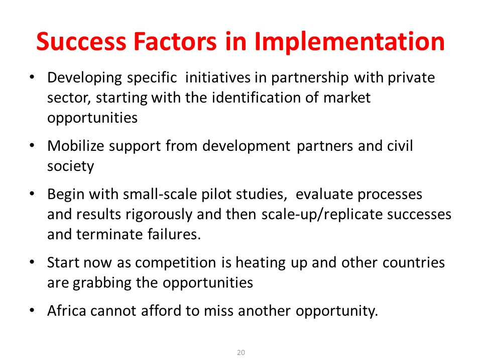 Developing specific initiatives in partnership with private sector, starting with the identification of market opportunities Mobilize support from development partners and civil society Begin with small-scale pilot studies, evaluate processes and results rigorously and then scale-up/replicate successes and terminate failures.
