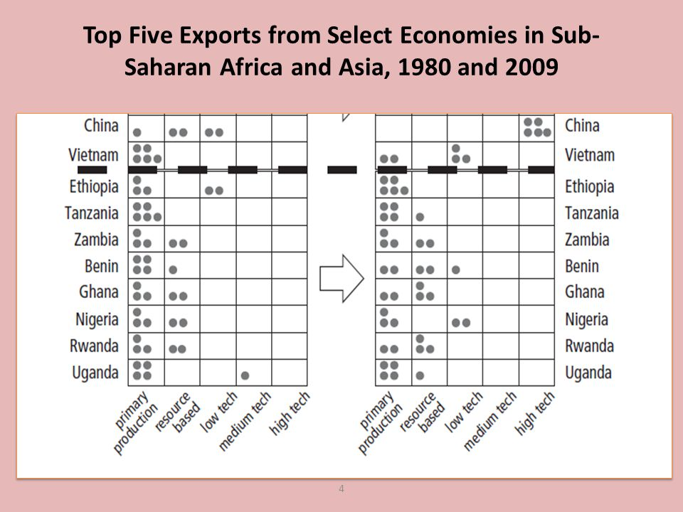 Top Five Exports from Select Economies in Sub- Saharan Africa and Asia, 1980 and 2009 4