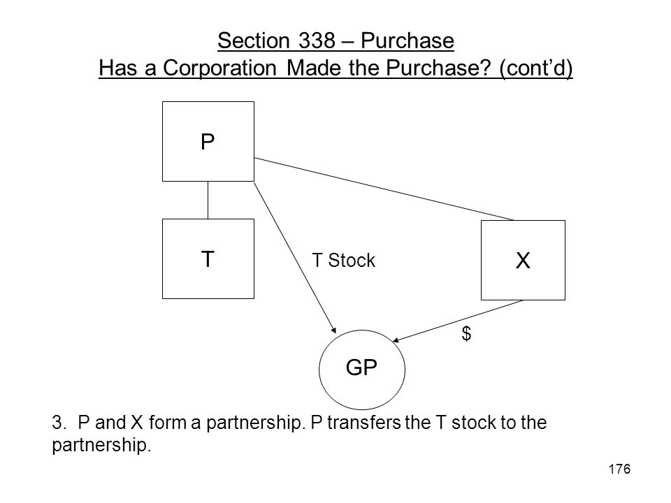 X GP T Stock $ 3. P and X form a partnership. P transfers the T stock to the partnership. P T Section 338 – Purchase Has a Corporation Made the Purcha