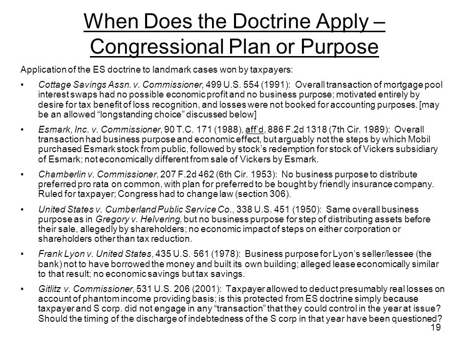 Application of the ES doctrine to landmark cases won by taxpayers: Cottage Savings Assn. v. Commissioner, 499 U.S. 554 (1991): Overall transaction of