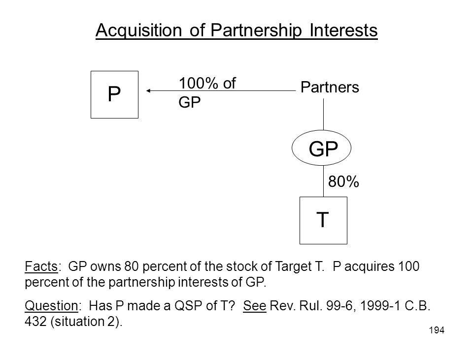 Acquisition of Partnership Interests Partners 100% of GP P S T Facts: GP owns 80 percent of the stock of Target T.