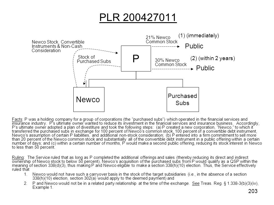 PLR 200427011 Facts: P was a holding company for a group of corporations (the purchased subs) which operated in the financial services and insurance i