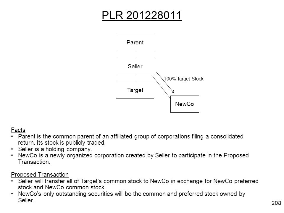 PLR 201228011 Facts Parent is the common parent of an affiliated group of corporations filing a consolidated return. Its stock is publicly traded. Sel
