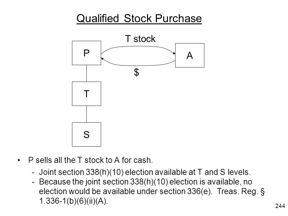 Qualified Stock Purchase P sells all the T stock to A for cash. -Joint section 338(h)(10) election available at T and S levels. -Because the joint sec