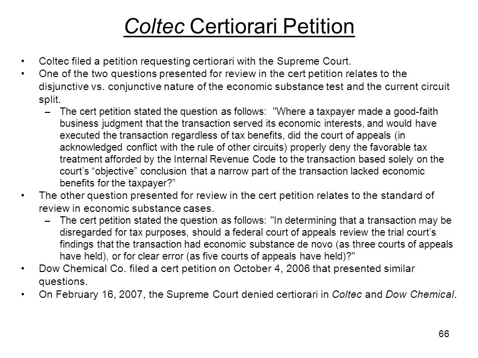 Coltec filed a petition requesting certiorari with the Supreme Court. One of the two questions presented for review in the cert petition relates to th