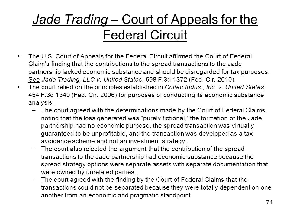 Jade Trading – Court of Appeals for the Federal Circuit The U.S. Court of Appeals for the Federal Circuit affirmed the Court of Federal Claims finding