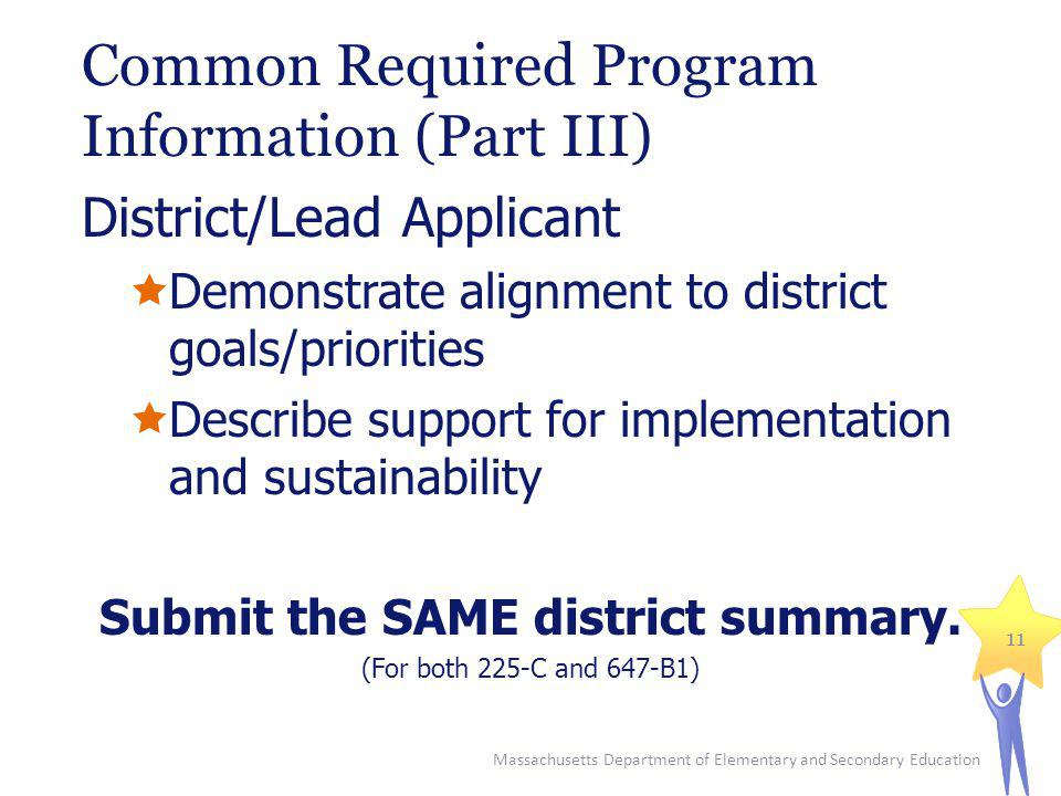Common Required Program Information (Part III) District/Lead Applicant Demonstrate alignment to district goals/priorities Describe support for impleme