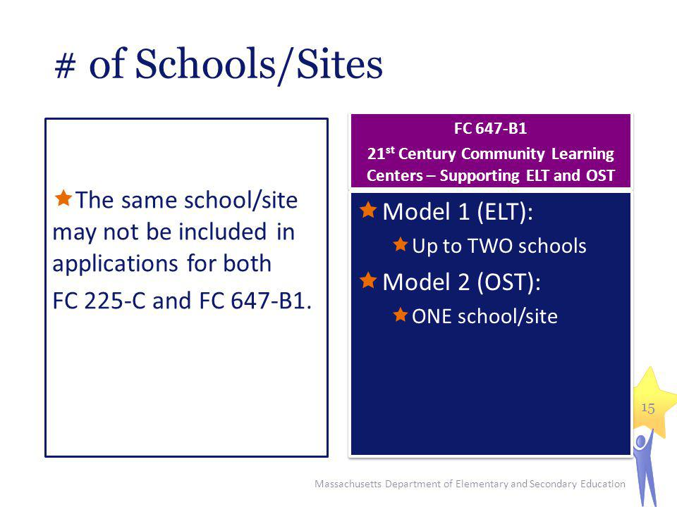 # of Schools/Sites The same school/site may not be included in applications for both FC 225-C and FC 647-B1. Model 1 (ELT): Up to TWO schools Model 2