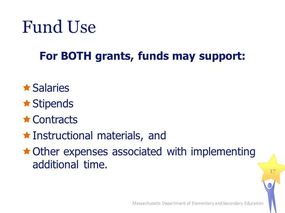 Fund Use For BOTH grants, funds may support: Salaries Stipends Contracts Instructional materials, and Other expenses associated with implementing additional time.