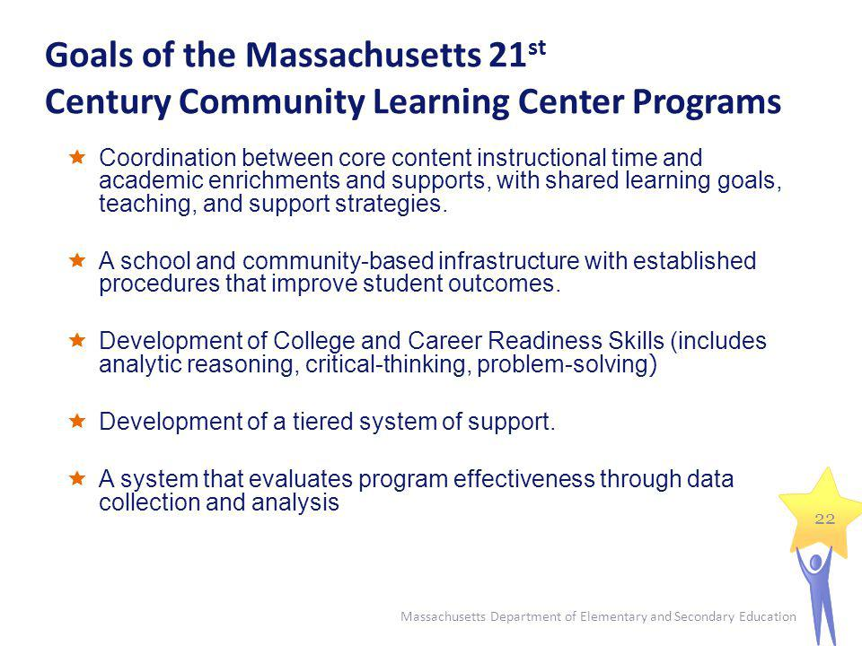 Goals of the Massachusetts 21 st Century Community Learning Center Programs Massachusetts Department of Elementary and Secondary Education 22 Coordina