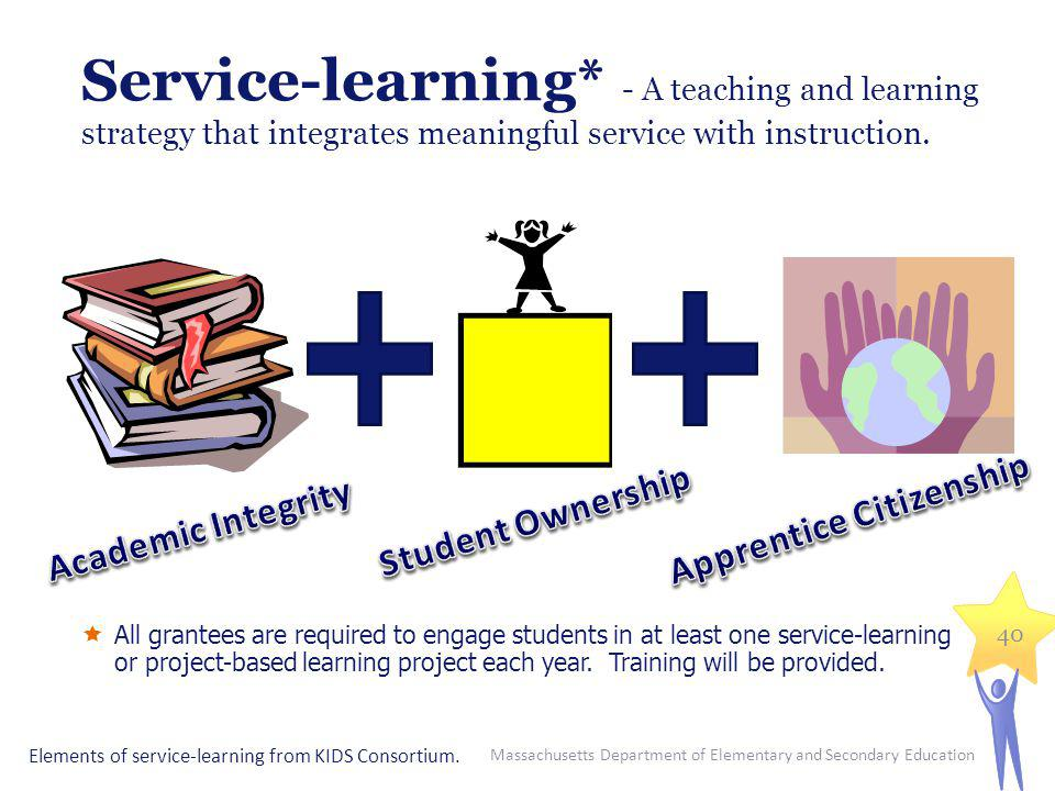 Service-learning* - A teaching and learning strategy that integrates meaningful service with instruction. All grantees are required to engage students