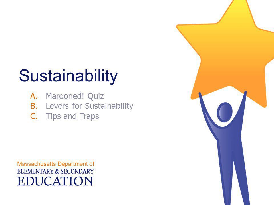 Sustainability A.Marooned! Quiz B.Levers for Sustainability C.Tips and Traps