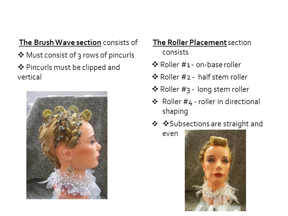 The Brush Wave section consists of Must consist of 3 rows of pincurls Pincurls must be clipped and vertical The Roller Placement section consists Roll