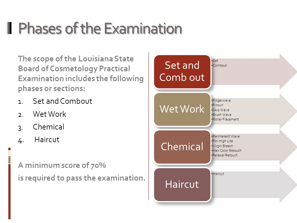 Phases of the Examination The scope of the Louisiana State Board of Cosmetology Practical Examination includes the following phases or sections: 1. Se