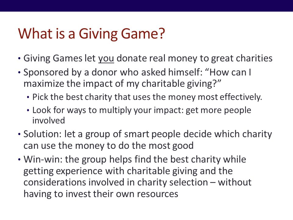What is a Giving Game.