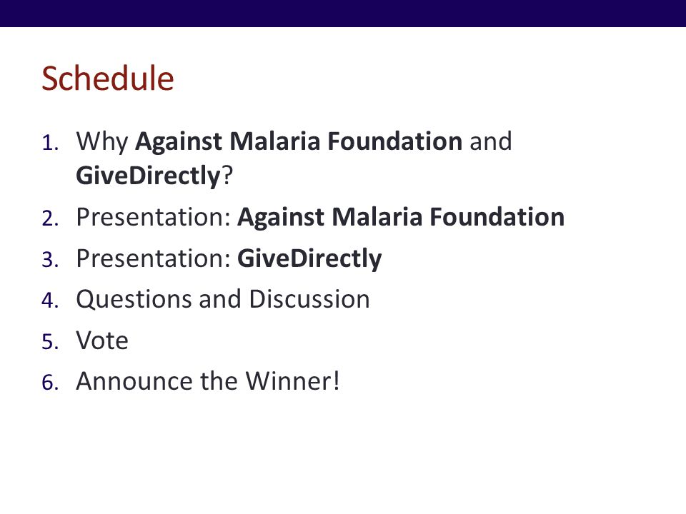 Schedule 1. Why Against Malaria Foundation and GiveDirectly.