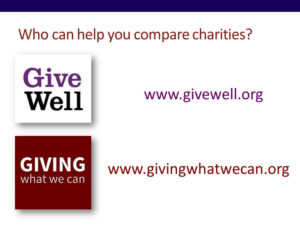 Who can help you compare charities