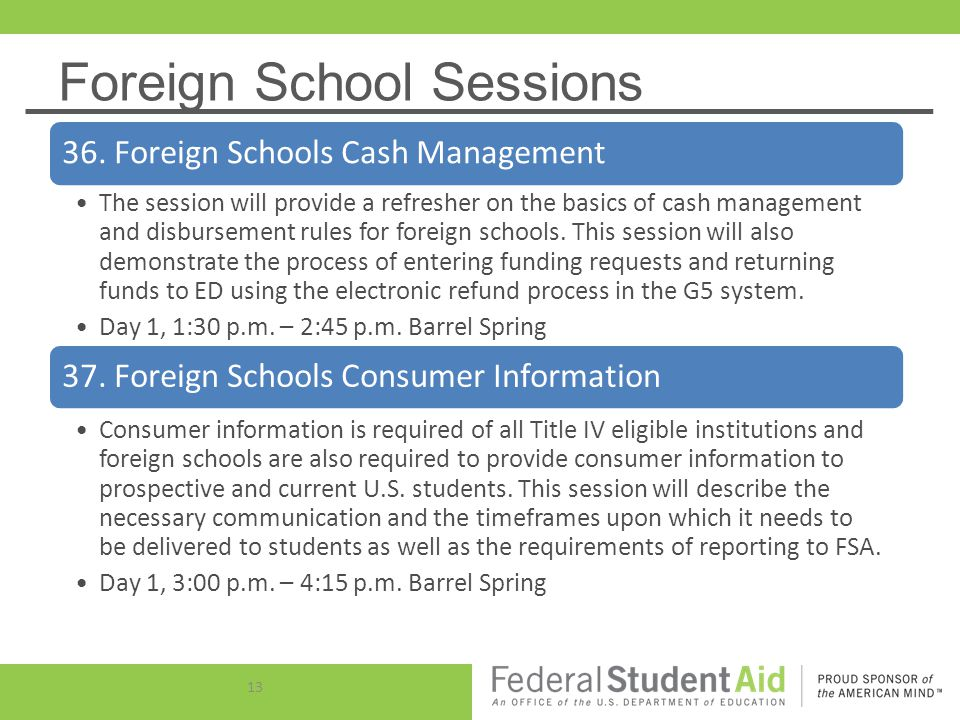 Foreign School Sessions 36.