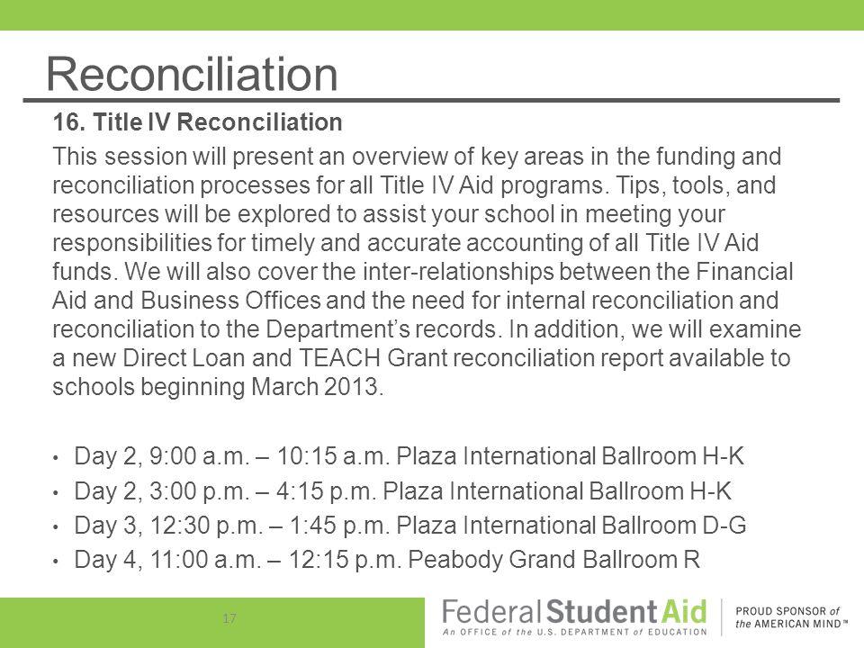 Reconciliation 16.
