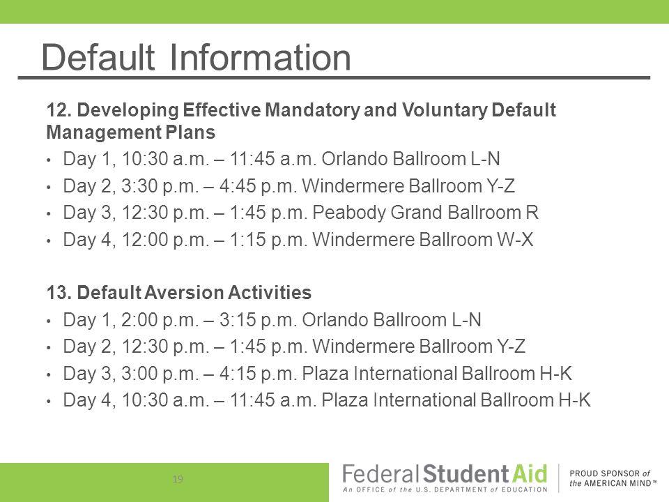 Default Information 12.