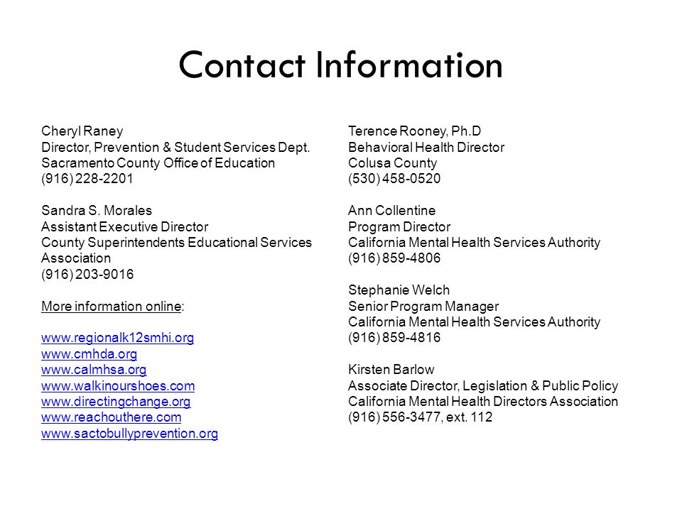 Contact Information Cheryl Raney Director, Prevention & Student Services Dept.