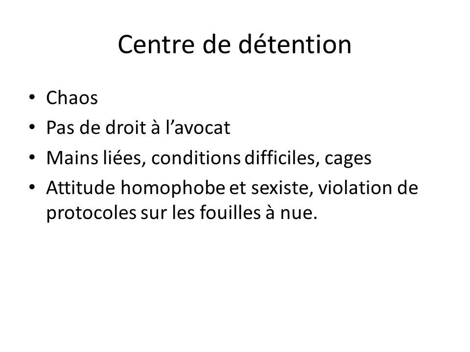 Centre de détention Chaos Pas de droit à lavocat Mains liées, conditions difficiles, cages Attitude homophobe et sexiste, violation de protocoles sur les fouilles à nue.