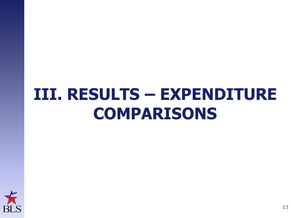 III. RESULTS – EXPENDITURE COMPARISONS 13