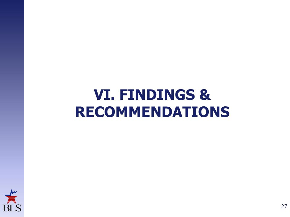 VI. FINDINGS & RECOMMENDATIONS 27