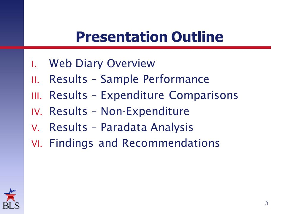 Presentation Outline 3 I. Web Diary Overview II. Results – Sample Performance III.