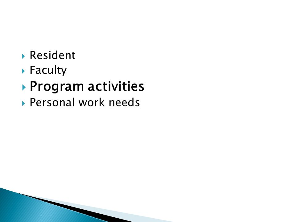 Resident Faculty Program activities Personal work needs