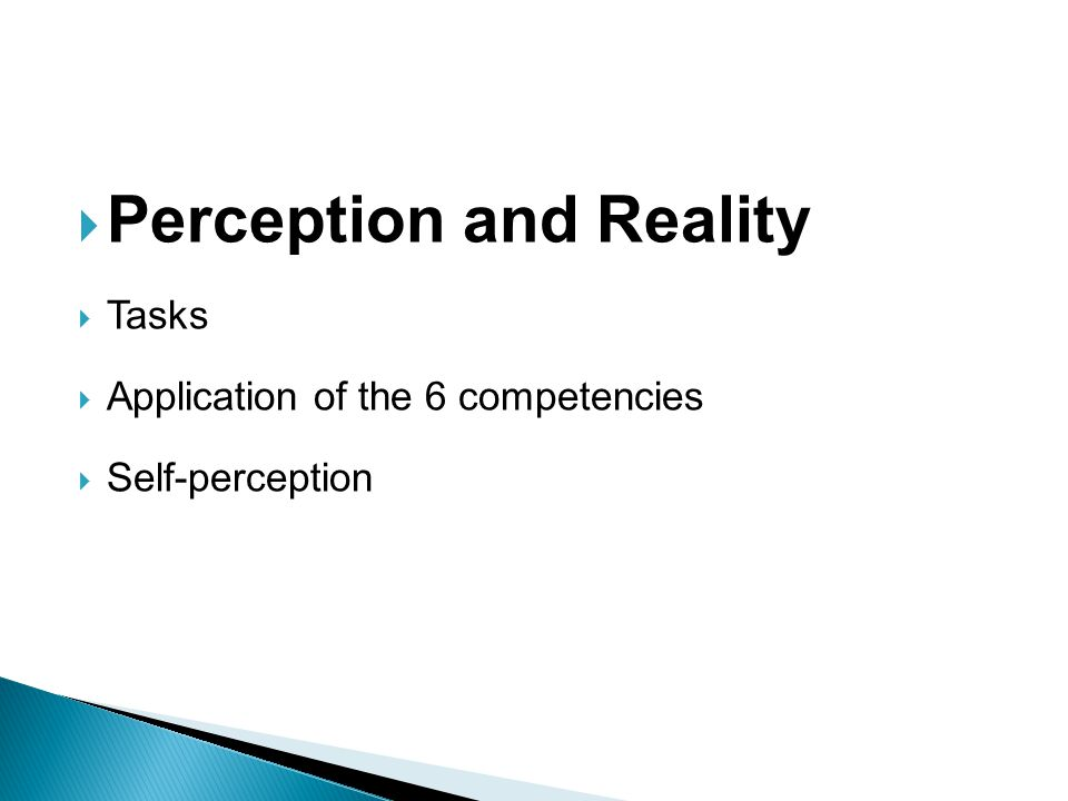 Perception and Reality Tasks Application of the 6 competencies Self-perception