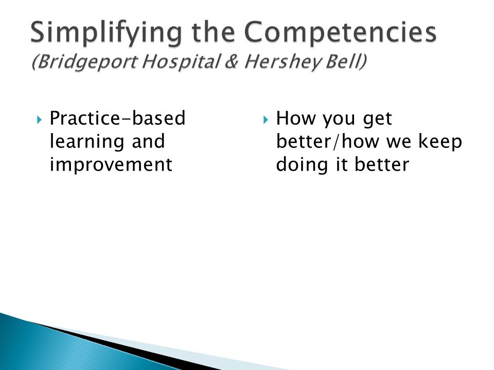 Practice-based learning and improvement How you get better/how we keep doing it better