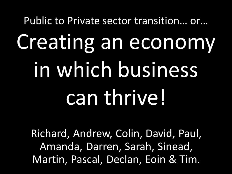 Public to Private sector transition… or… Creating an economy in which business can thrive.