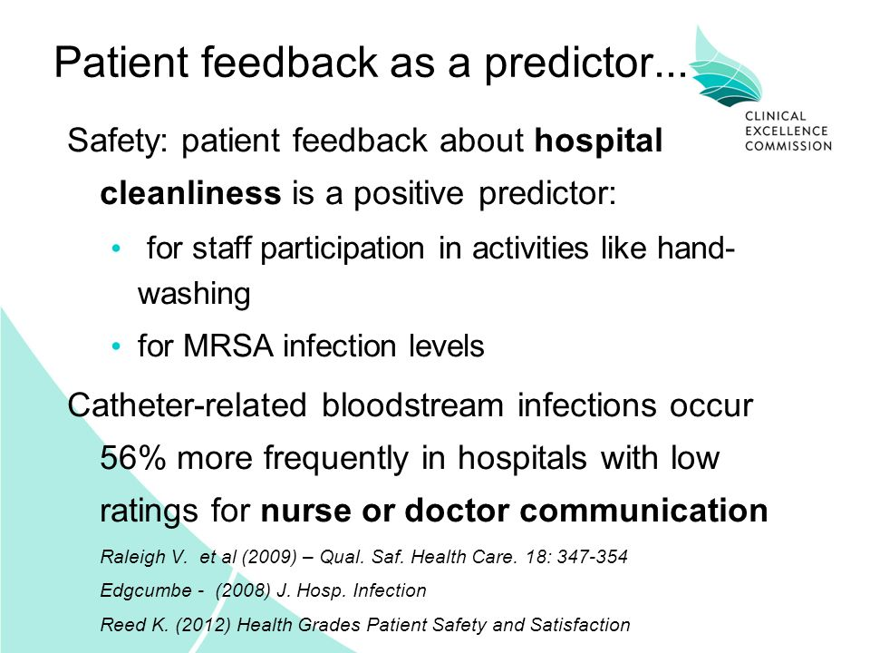 Patient feedback as a predictor... Safety: patient feedback about hospital cleanliness is a positive predictor: for staff participation in activities