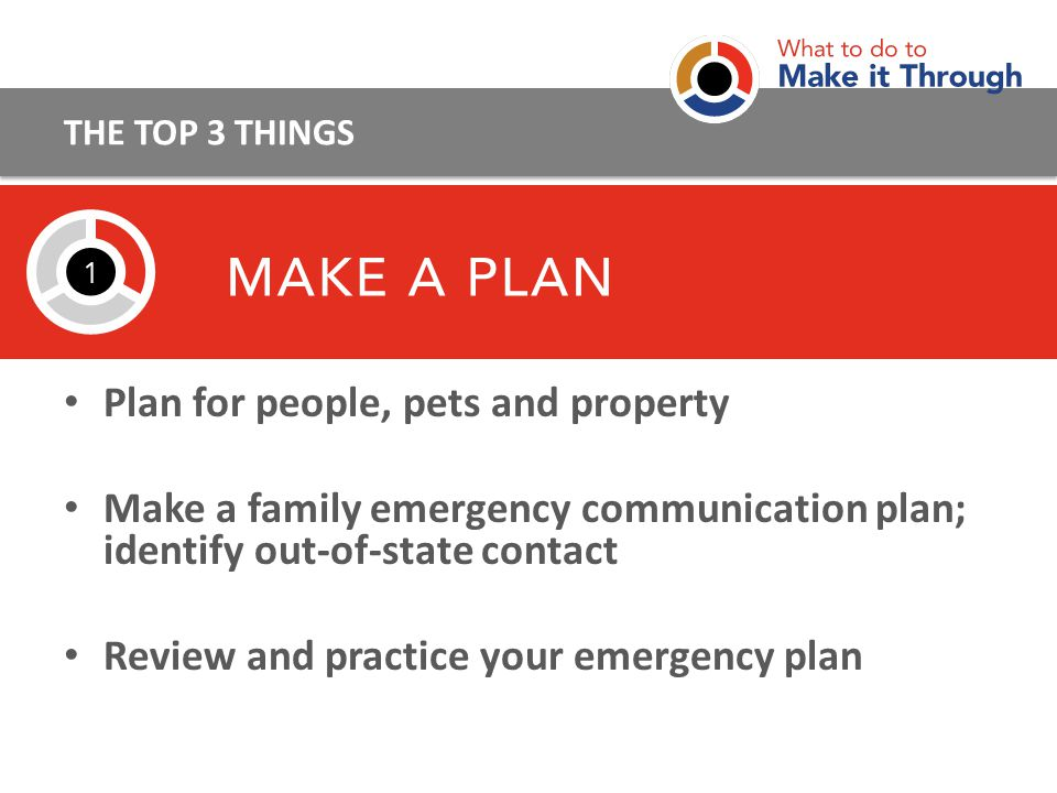 Plan for people, pets and property Make a family emergency communication plan; identify out-of-state contact Review and practice your emergency plan THE TOP 3 THINGS