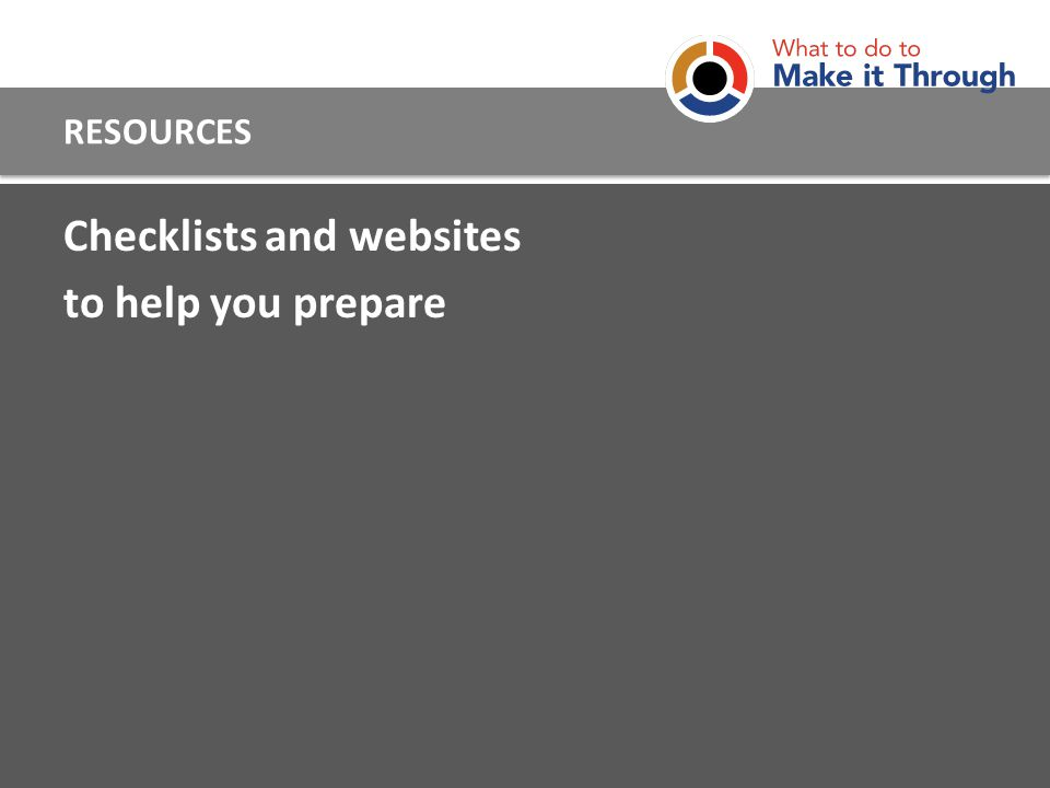 Checklists and websites to help you prepare RESOURCES