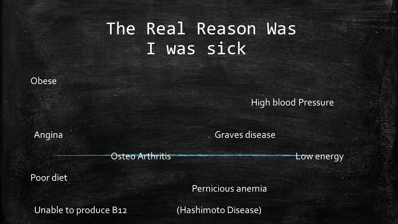 The Real Reason Was I was sick Obese High blood Pressure Angina Graves disease Osteo Arthritis Low energy Poor diet Pernicious anemia Unable to produce B12 (Hashimoto Disease)
