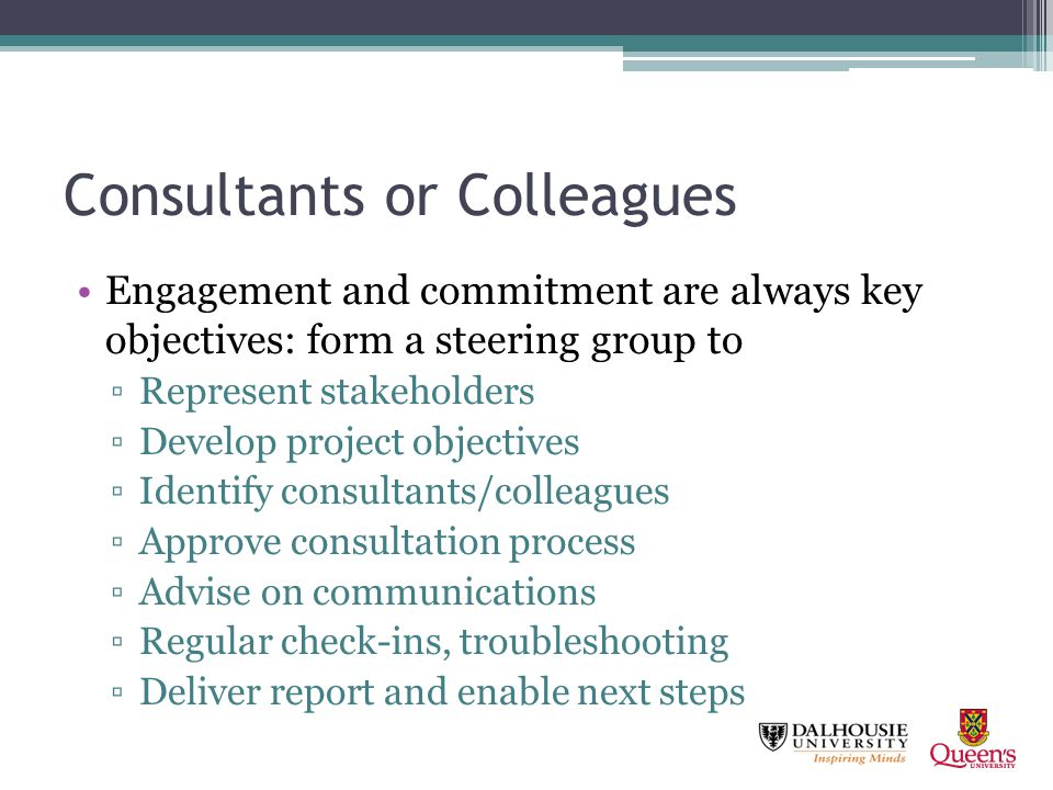 Consultants or Colleagues Engagement and commitment are always key objectives: form a steering group to Represent stakeholders Develop project objecti