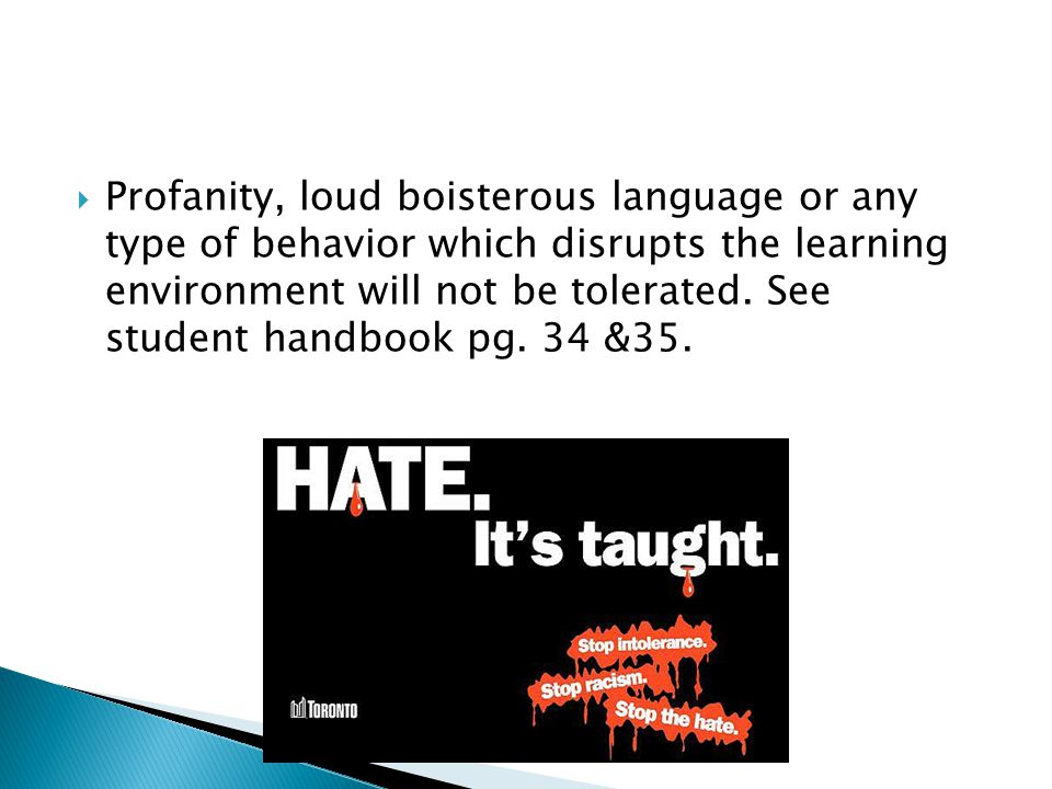 Profanity, loud boisterous language or any type of behavior which disrupts the learning environment will not be tolerated.