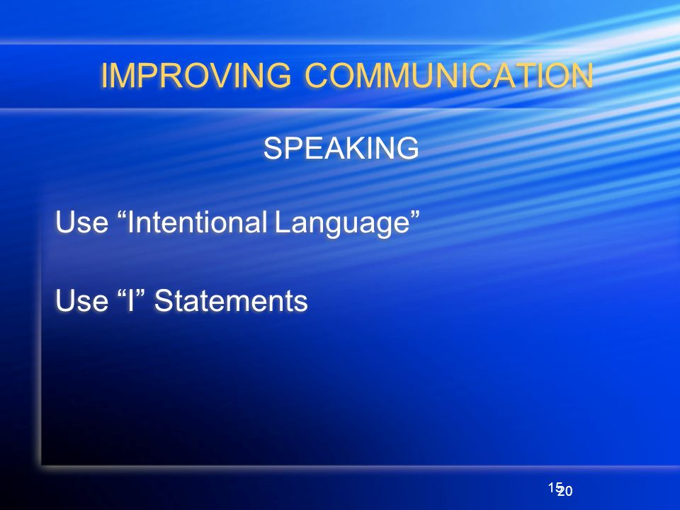 15 IMPROVING COMMUNICATION SPEAKING Use Intentional Language Use I Statements SPEAKING Use Intentional Language Use I Statements 20