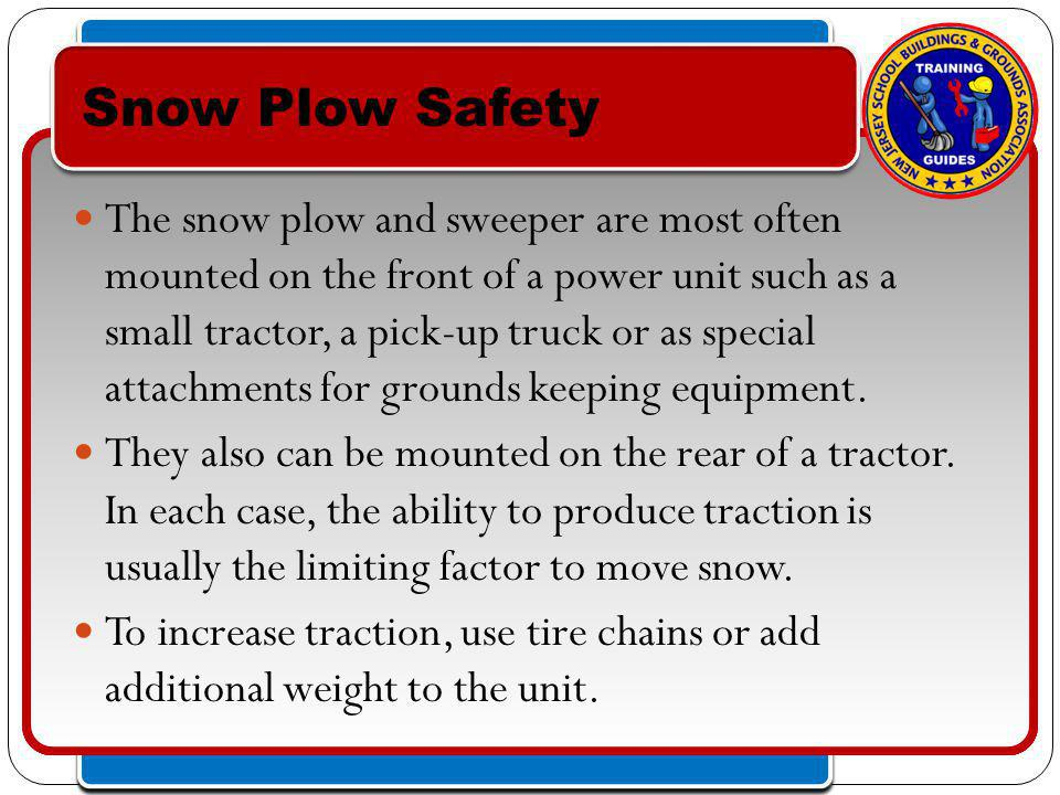 Click to edit Master text styles – Second level Third level – Fourth level » Fifth level Click to edit Master text styles – Second level Third level – Fourth level » Fifth level The snow plow and sweeper are most often mounted on the front of a power unit such as a small tractor, a pick-up truck or as special attachments for grounds keeping equipment.